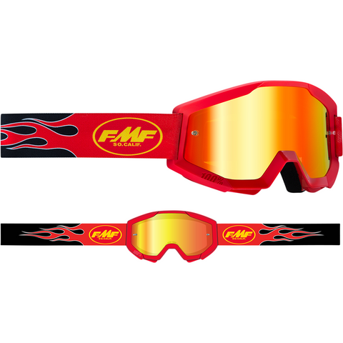 FMF VISION Youth PowerCore Goggles - Flame - Red - Red Mirror F-50500-251-03