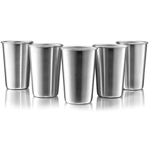 Stainless Steel Pint Cups 16oz 5 Pack Online - Big Aroha