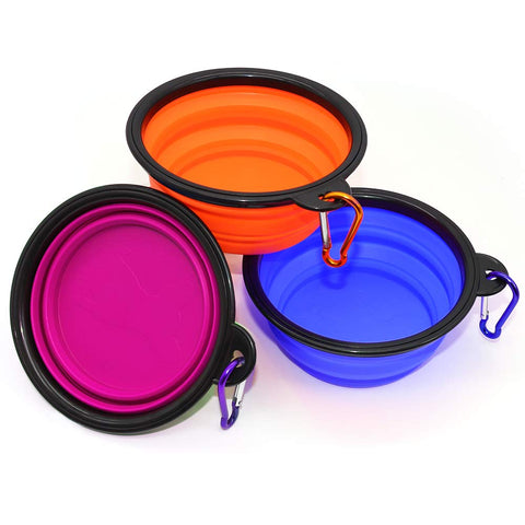 Collapsible Dog Bowls 3 Pack Blue, Orange & Purple For Sale - Big Aroha