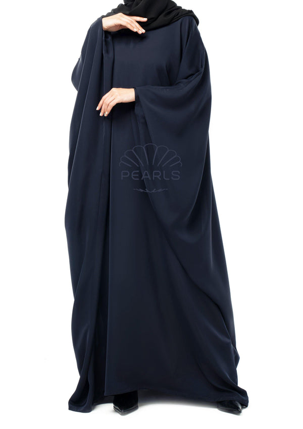 Saudi Abaya from Dubai with Wide Cut and Butterfly Sleeves Navy - Pearls Dubai
