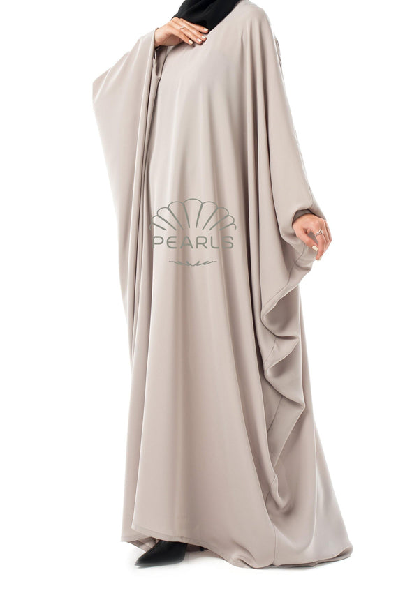 Saudi Abaya from Dubai with Wide Cut and Butterfly Sleeves Greige - Pearls Dubai