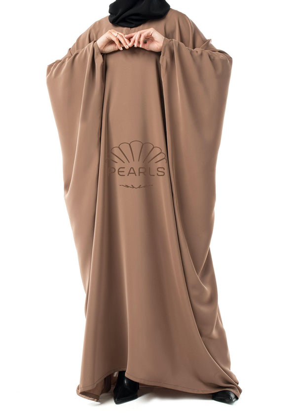 Saudi Abaya from Dubai with Wide Cut and Butterfly Sleeves Taupe - Pearls Dubai