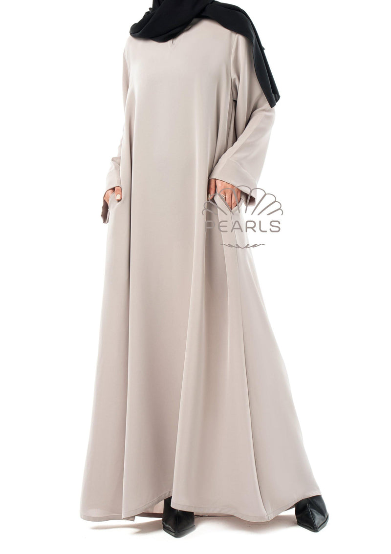 Abaya Dress Greige - Pearls Dubai