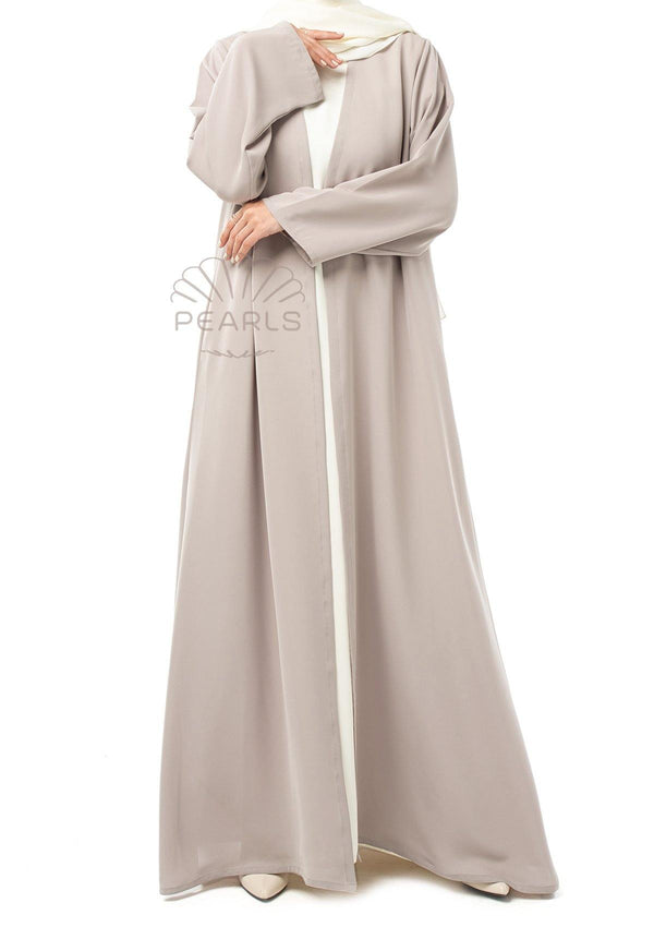 Simple Abaya from Dubai Flared Cut with Long Straight Sleeves Greige - Pearls Dubai