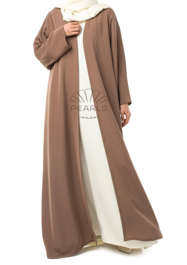 Simple Abaya from Dubai Flared Cut with Long Straight Sleeves Taupe - Pearls Dubai