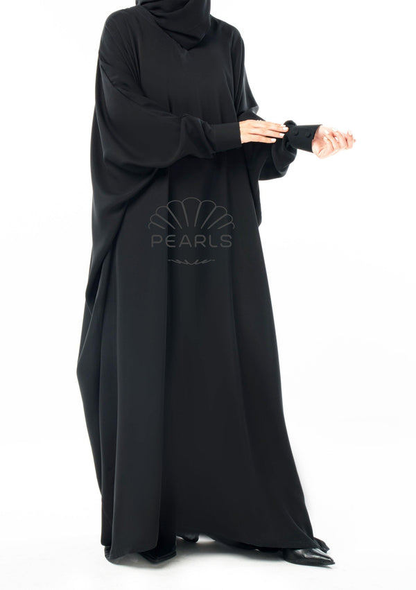 Butterfly Abaya from Dubai with Chic Fit and Buttoned Sleeves Black - Pearls Dubai