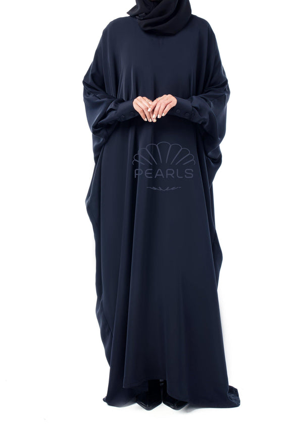 Butterfly Abaya from Dubai with Chic Fit and Buttoned Sleeves Navy - Pearls Dubai