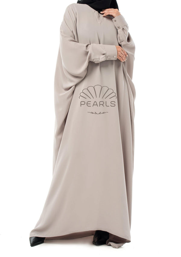 Butterfly Abaya from Dubai with Chic Fit and Buttoned Sleeves Greige - Pearls Dubai