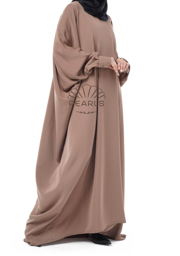 Butterfly Abaya from Dubai with Chic Fit and Buttoned Sleeves Taupe - Pearls Dubai