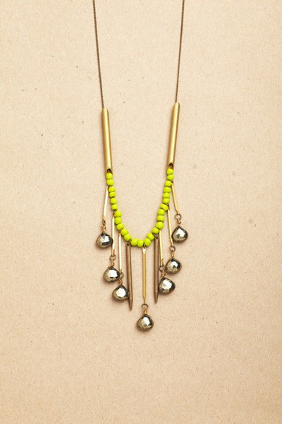 + SHOOTING STARS NECKLACE in NEON GREEN +