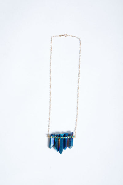 + CRYSTAL RHINESTONE NECKLACE in ELECTRIC BLUE +