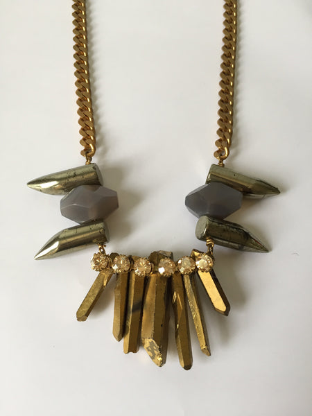 + CRYSTAL SPIKE RHINESTONE NECKLACE in GOLD +