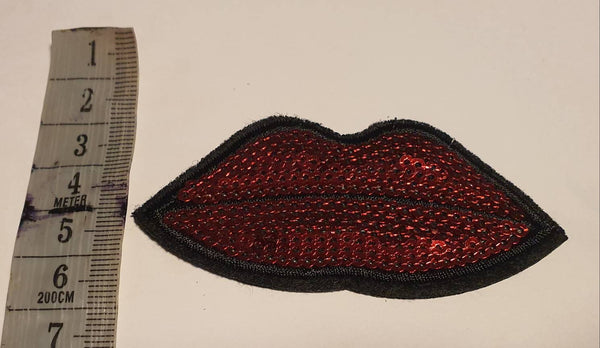 Patches Kussmund Kiss Lippen rockabilly Aufbügler Bügelbild handmade Kleidung Applikation
