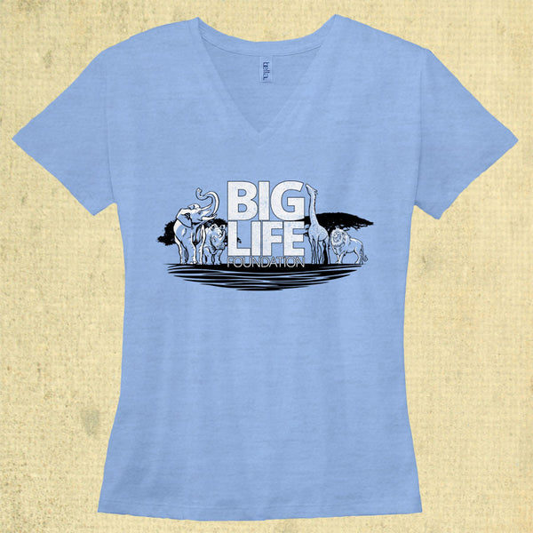 Big Life - Ladies Tri-Blend V-Neck - Blue Triblend