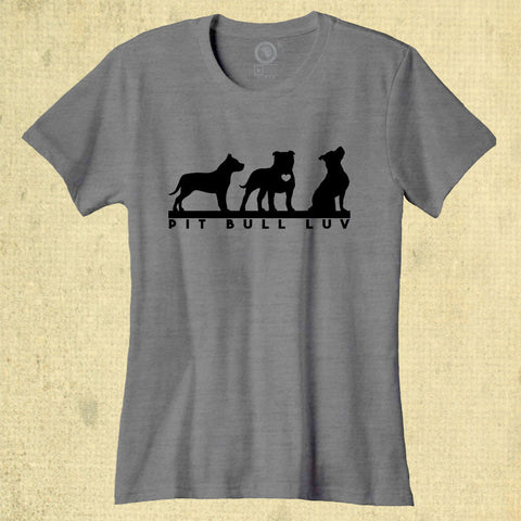 Pit Bull Luv - Ladies Classic Tee - Heather Grey