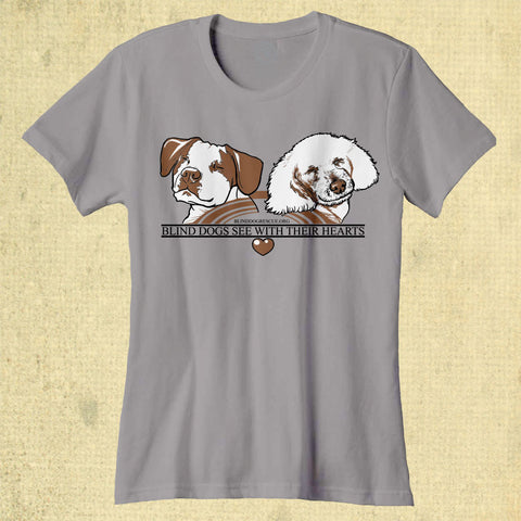Blind Dogs See With Their Hearts - Ladies Classic Tee - Silver