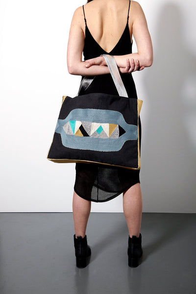 VEERO BUKALI Aqua Multi Horizontal Tote with leather