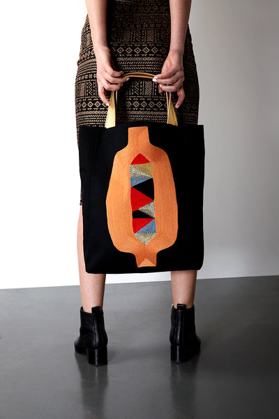 VEERO BUKALI Peach/Multi Vertical Tote with leather
