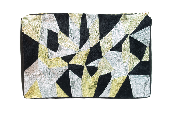 VEERO KALEIDOSCOPE Gold / Black Clutch with Flange