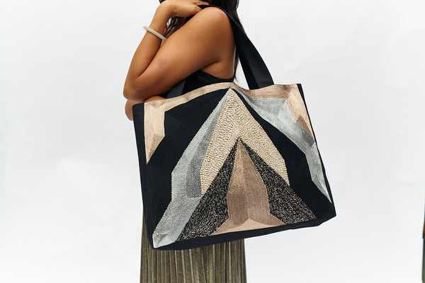 VEERO V Gold/ Silver / Black  Tote with leather.