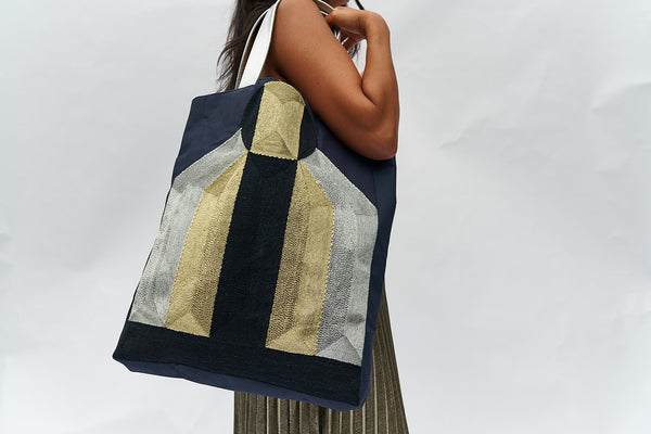 VEERO DROMO Gold / Silver / Black Tote with leather