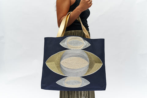 VEERO MATI STACKED Gold / Silver/ Black Tote with leather.