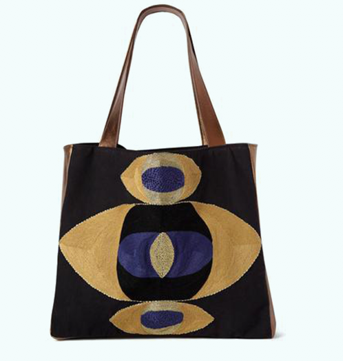 VEERO MATI Stacked Mustard/Sapphire Tote with leather