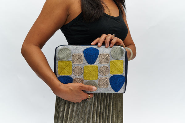 VEERO GEMS Silver / Blue Clutch with Flange