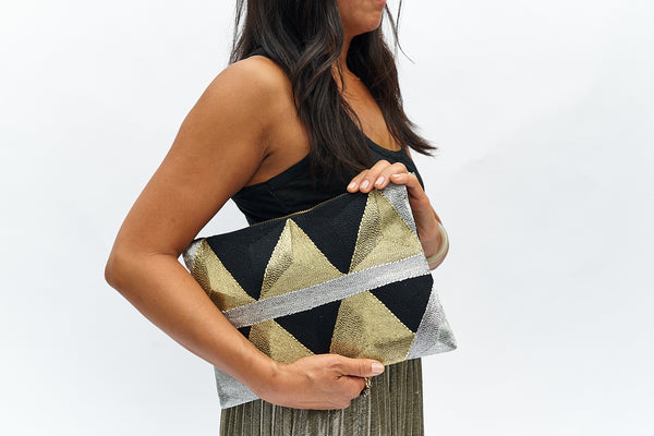 VEERO ZIG ZAG Gold/ Silver / Black Clutch