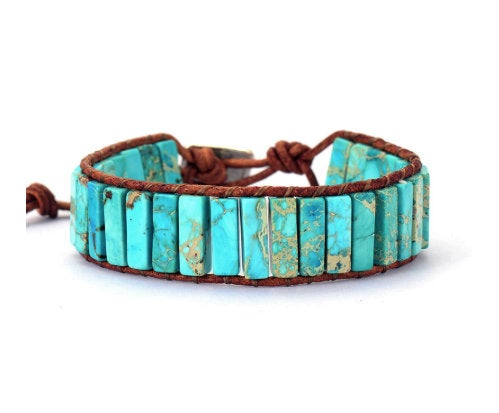The Real Teal - Turquoise Bracelet, Leather Bracelet, Beaded Jewelry, Turquoise Jewelry, Wrap Bracelet, Boho Jewelry, Summer Jewelry Trends