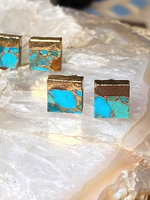 The Twilight Stone - Raw Turquoise Stud Earrings | Gold Dipped Natural Turquoise Stone Earrings