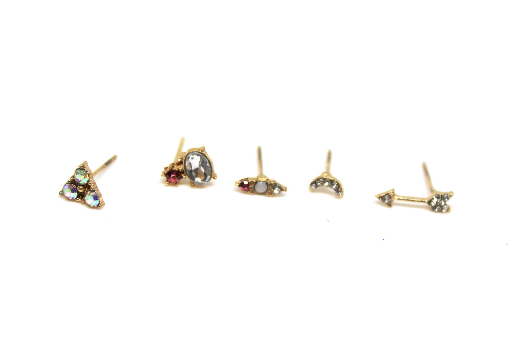What Studs - Mismatched Set of Crystal Stud Earrings | Dainty Studs