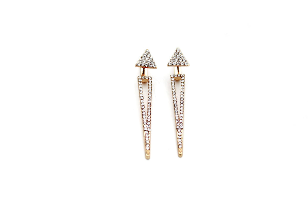 Double Sided Triangles - Rhinestone Dangle Drop Earring Jackets | 2 Piece Earrings
