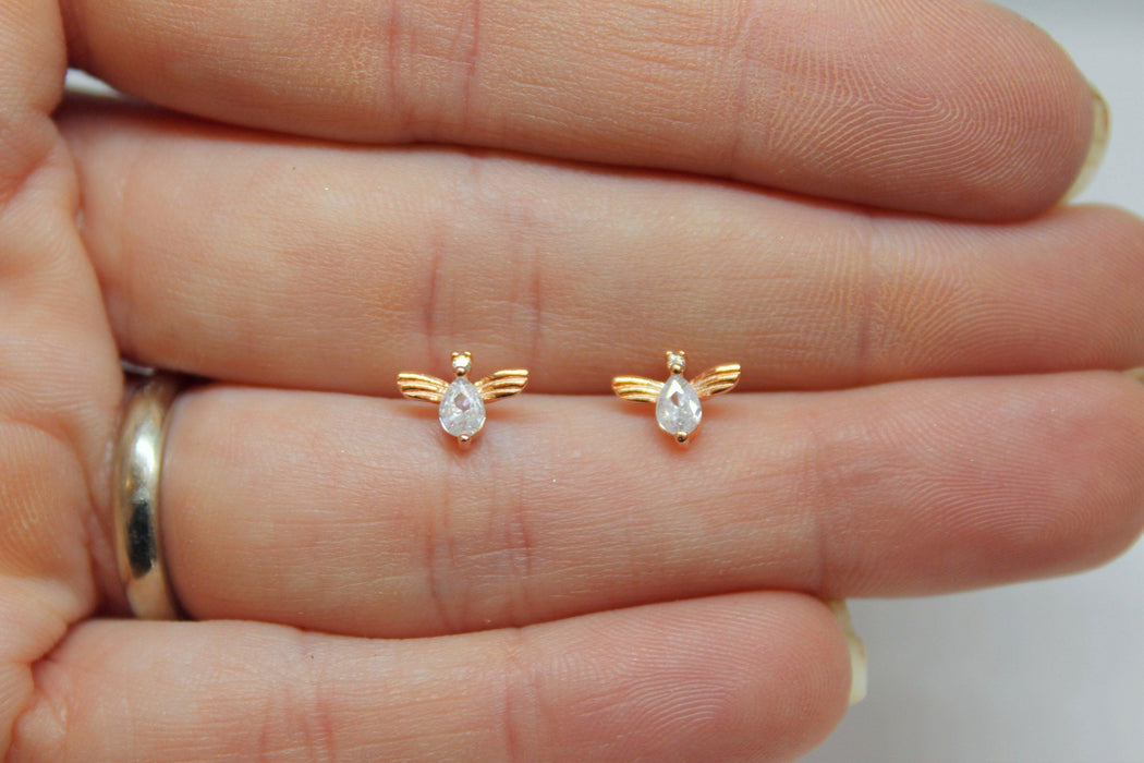 Bee Still - Tiny Sterling Silver Bee Stud Earrings | Crystal Accent Bee Studs