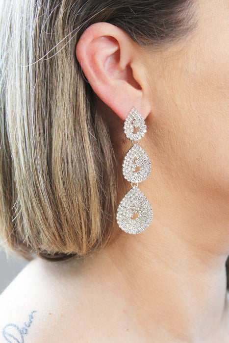 Shine Bright - Long Crystal Rhinestone Dangle Drop Earrings | Bridal and Pageant Teardrop Chandelier Earrings