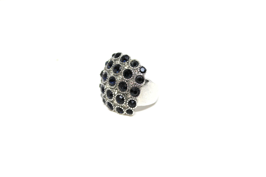 Sapphire Tales Cocktail Ring - Retro Inspired Silver Cocktail Ring | Antique Style Sapphire Rhinestone Cocktail Ring