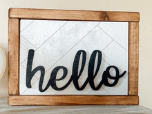 "Load image into Gallery viewer, ""Hello"" Wood Sign"