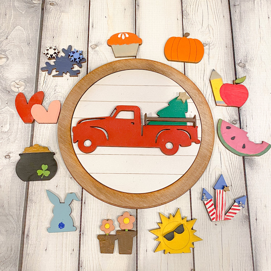 Red Truck Interchangeable Farmhouse Frame