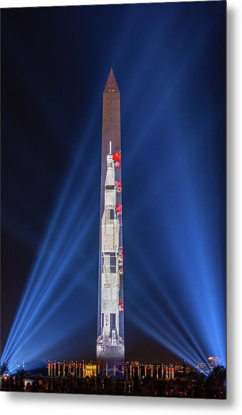 Apollo 11 on Washington Monument - Metal Print