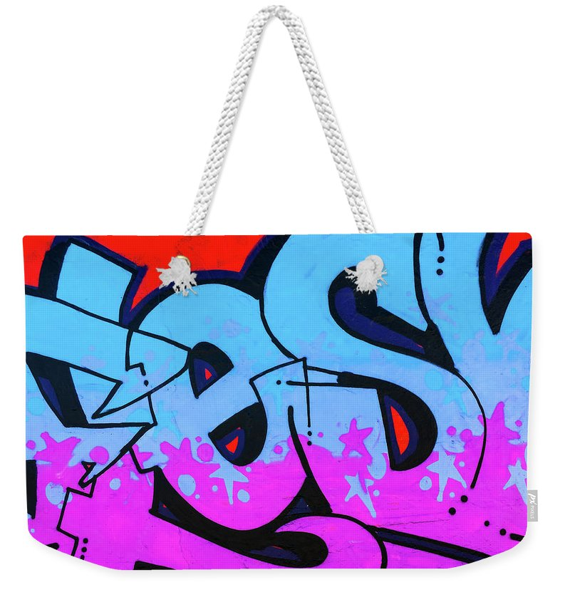 Blue and Purple Lettering Urban Art - Weekender Tote Bag