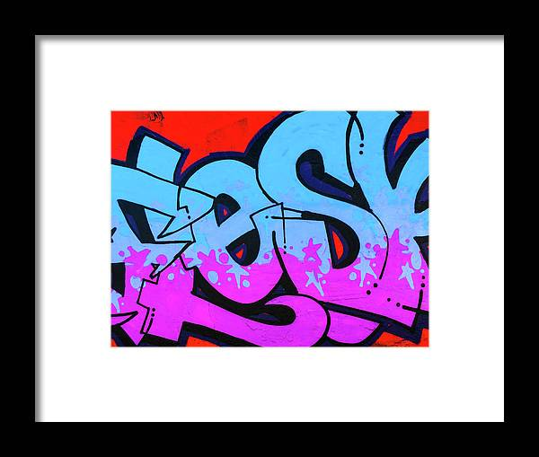 Blue and Purple Lettering Urban Art - Framed Print