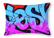 Load image into Gallery viewer, Blue and Purple Lettering Urban Art - Throw Pillow