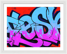 Load image into Gallery viewer, Blue and Purple Lettering Urban Art - Framed Print