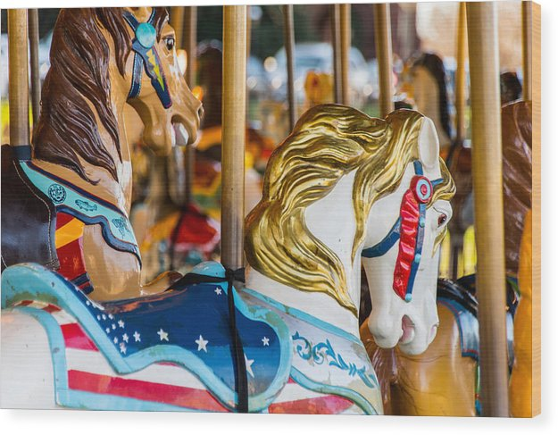 Carousel on the Mall - Wood Print