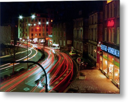 Giessen Fussganger at Night 1984 - Metal Print