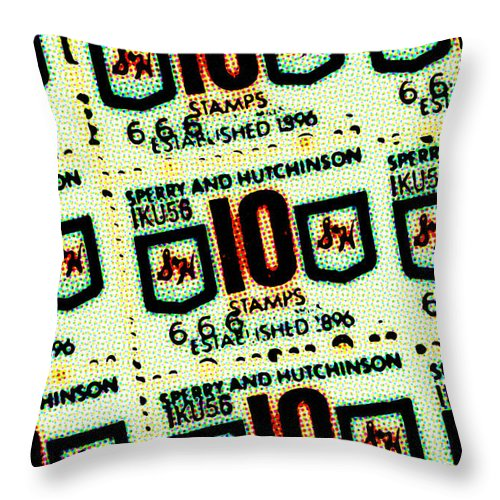Green Stamps - Throw Pillow