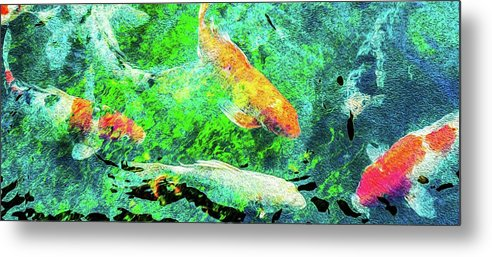 Koi Pond Abstract - Metal Print
