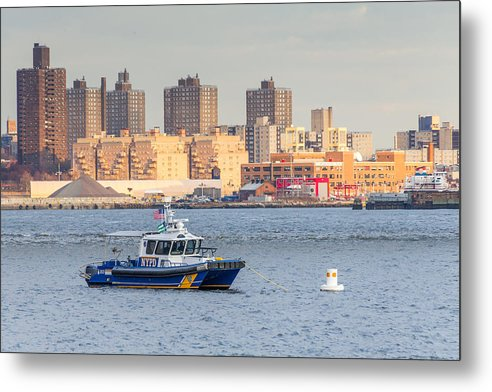 NYPD Patrol Boat in East River - Metal Print
