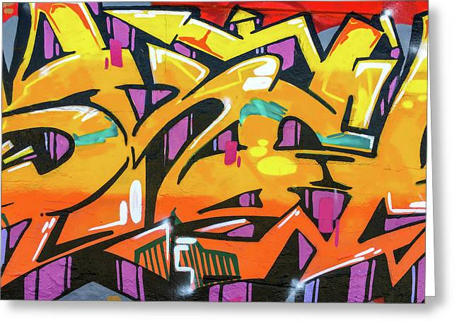 Orange Lettering Urban Art - Greeting Card