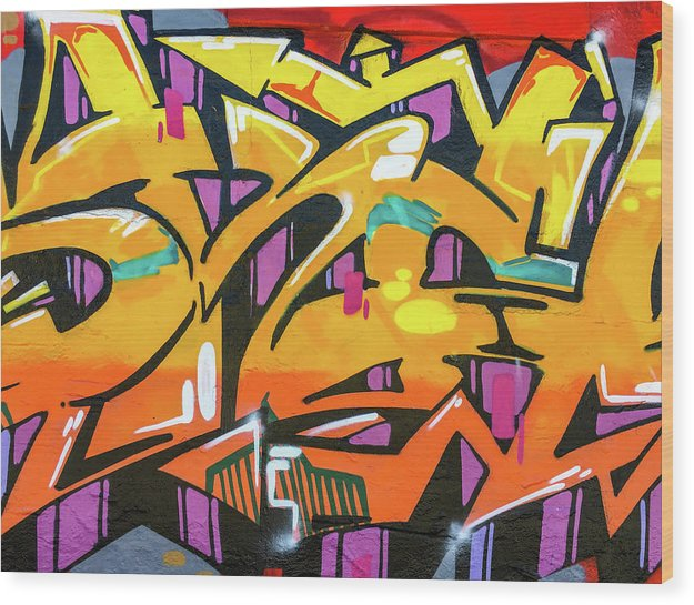 Orange Lettering Urban Art - Wood Print